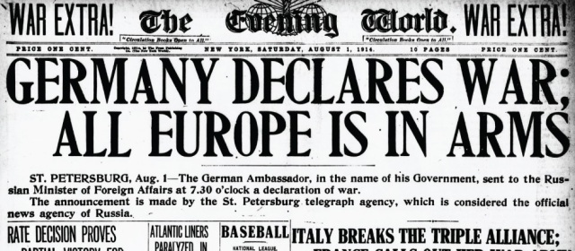 1 August 1914 headline from the New York Evening World