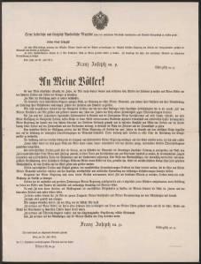 """To my people!"" Franz Joseph's declaration of war on Serbia."
