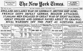 New York Times headline from 4 August 1914